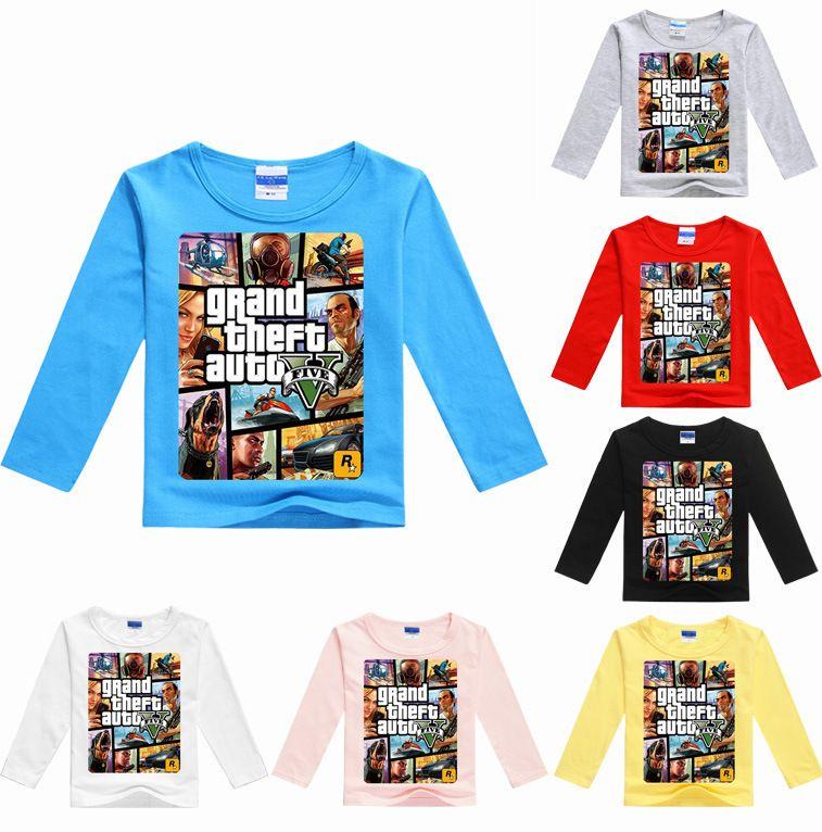 Z & Y 3-16years для маленьких мальчиков одежда с длинным рукавом GTA 5 Футболка игры одежда Grand Theft Auto Обувь для девочек Футболка хлопковые топы Футбо...