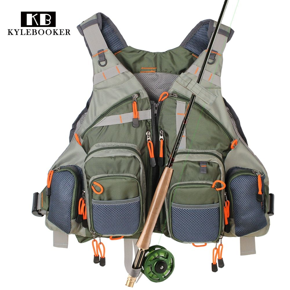 Army Green Fishing Vest General Size Multi Function Adjustable Mesh Vest With Mutil-Pocket Outdoor Fly Fishing Vest