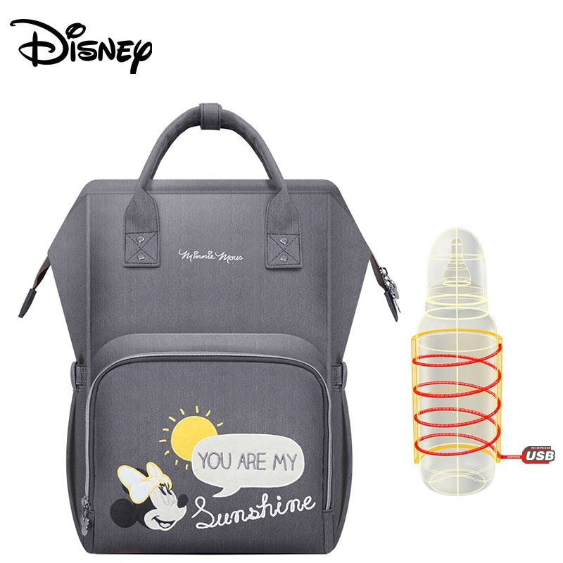 Disney Upgraded version Thermal Insulation Bag High-capacity Baby Feeding Bottle Bags Diaper Bags Oxford USB Insulation Bags