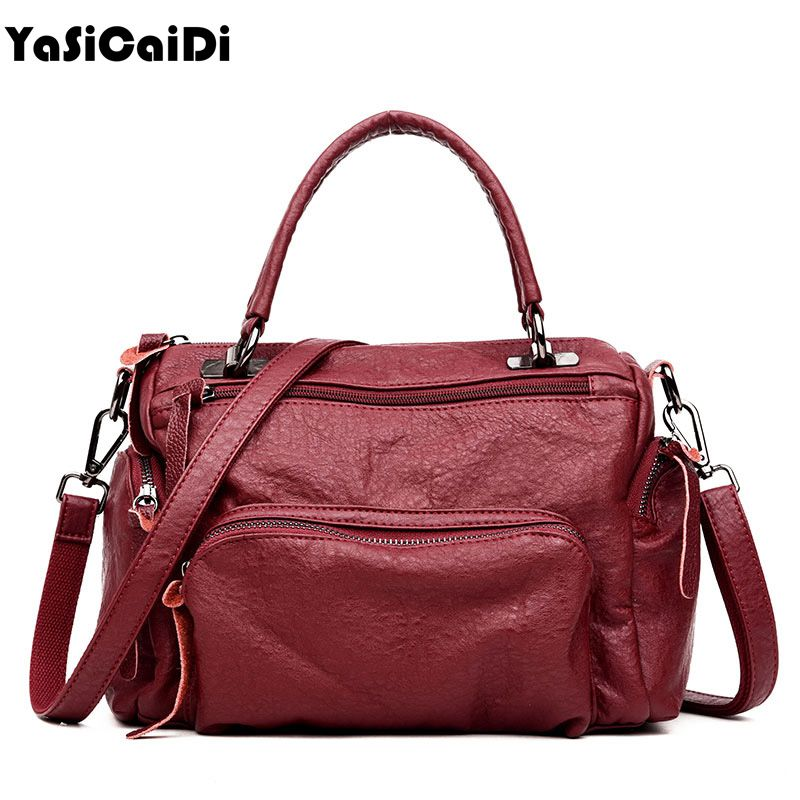 YASICAIDI Sheepskin Women shoulder bags Soft Leather Women Boston Bags Large Women Messenger Bags Double Zipper Vintange Bags