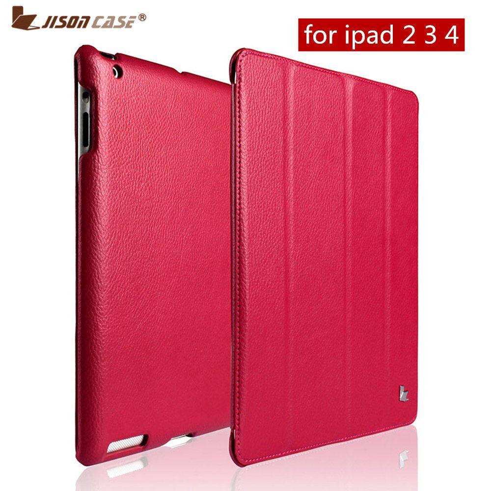 Jisoncase De Luxe Intelligent étui pour iPad 4 3 2 Flip couverture folio Stand En Cuir Auto Veille Couvre Pour iPad 2/3 /4 cas Funda Capa