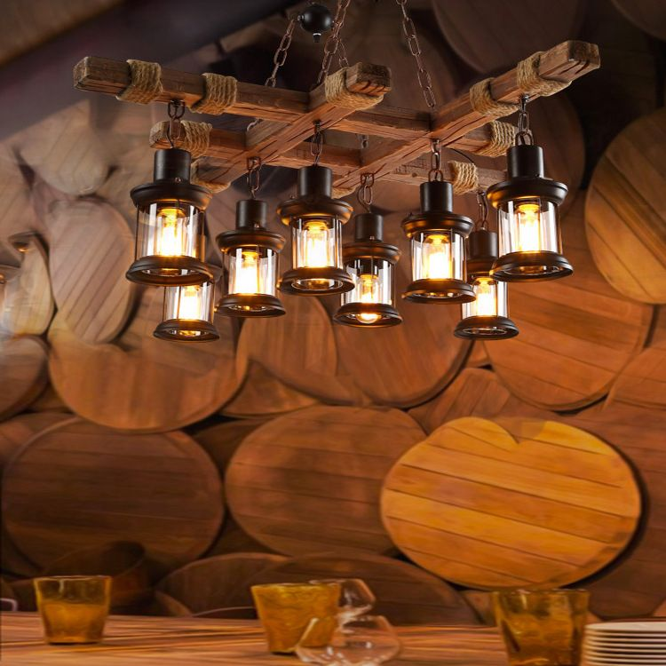 Retro loft wood cask pendant lamp restaurant warehouse dining room Wine cellar aisle corridor pub cafe chandelier barrel light