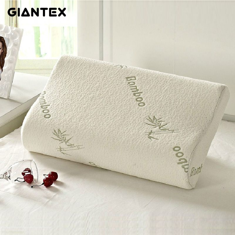 GIANTEX High Quality Bamboo Fiber Pillow Slow Rebound Memory Foam Pillow <font><b>Health</b></font> Care Pillow Massager Travesseiro Almohada U0301