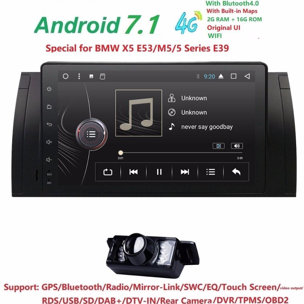 9inch Android 7.1 Quad Core 2G+16G GPS Car DVD Player Tape Recorder Radio 4GWifi For BMW E39 2002 2003 E38 X5 E53 M5 Range Rover