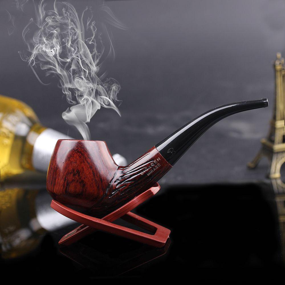 Marque Nouveau Cadeau de Nice à la main En Bois 9mm filtre pipe en bois + Pipe Stand + poche
