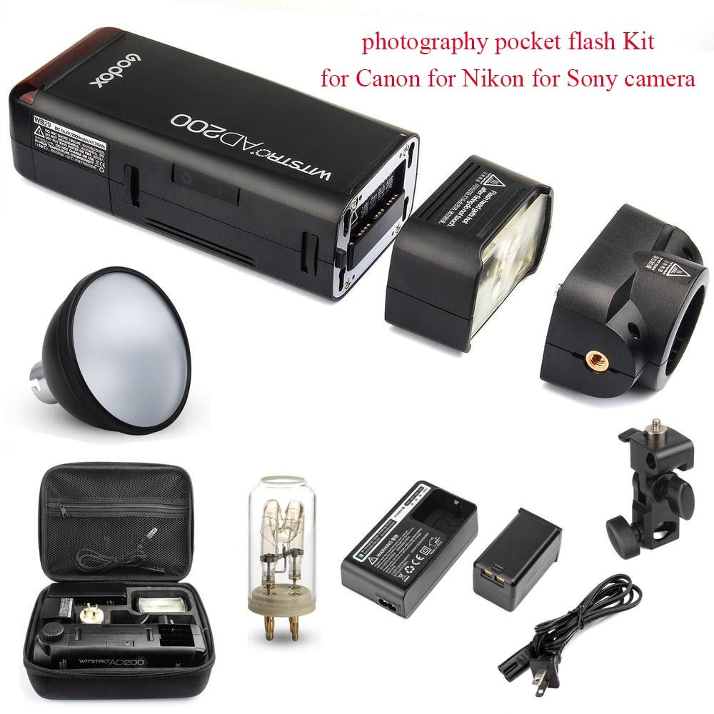 Godox AD200 2.4G 1/8000 HSS Flash photography pocket flash Kit for Canon for Nikon for Sony camera with AD-S2 Standard Reflector