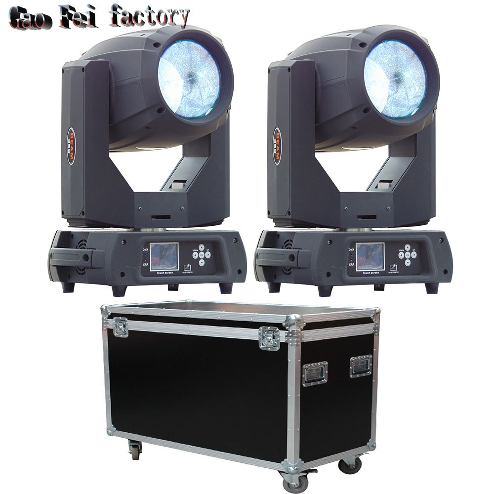 2pcs/lot fly case 350w beam 17R double prism moving head beam lighting sharpy DMX stage light