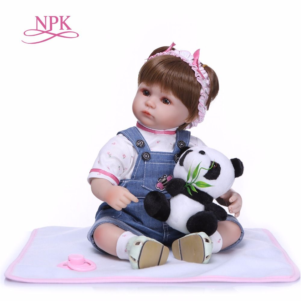 NPK 18inch 43cm realistic lifelike reborn baby doll bebe reborn doll playing toys for kids Christmas Gift soft silicone dolls