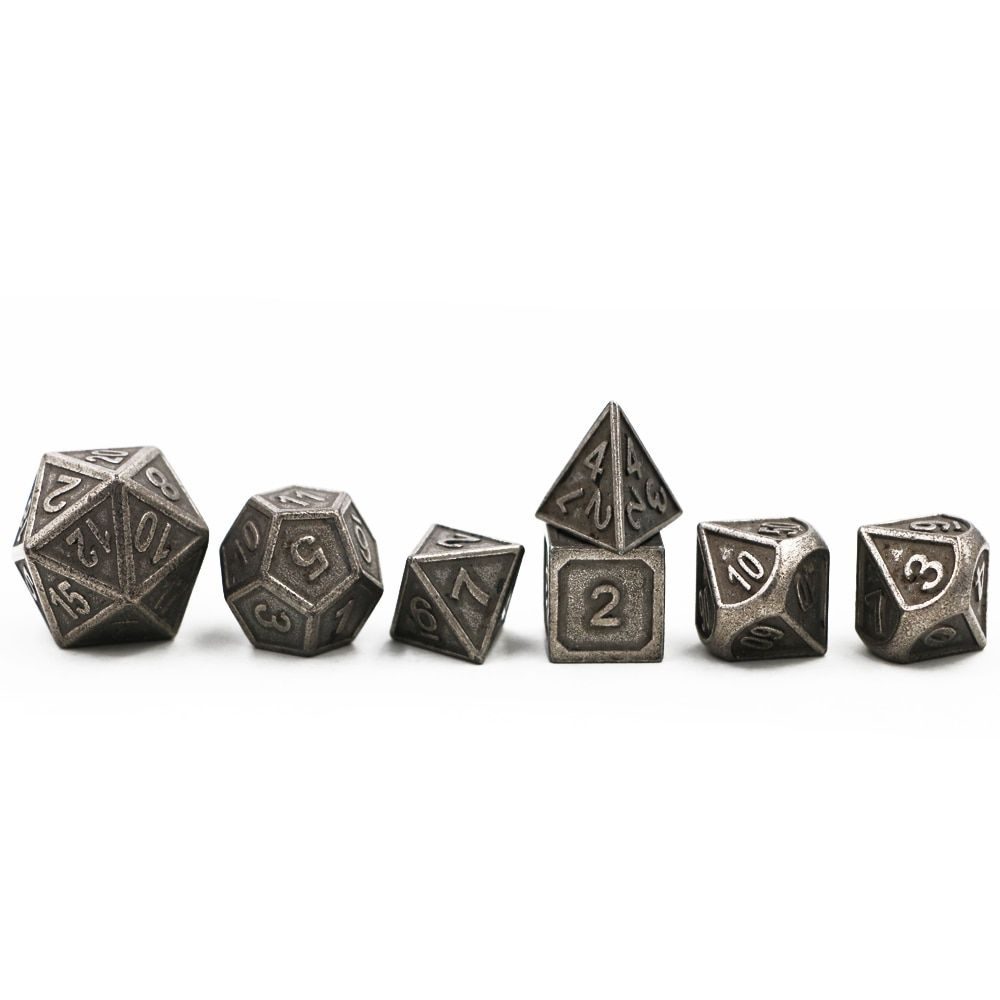 Dungeons & Dragons 7pcs/set Creative RPG Dice D&D Metal Dice DND Game Dice Different Color Nickel Carving Numbers