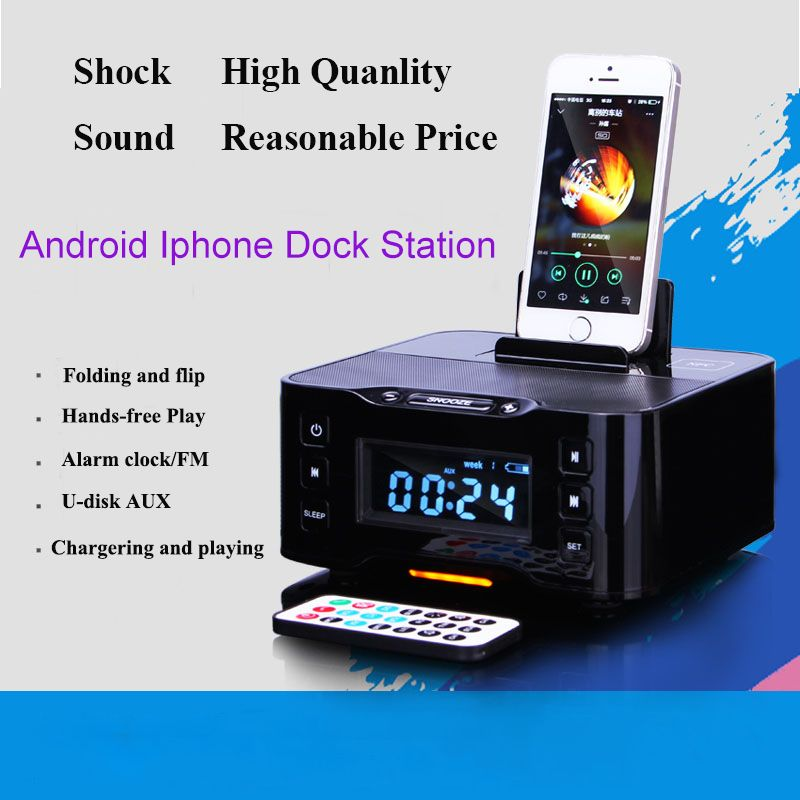 LCD Digital FM Radio Alarm Clock Bluetooth Dock station for IOS Apple iPhone6 7 8 X for Samsung xiaomi huawei Android charger