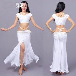 Wanita Tari Perut Kostum Panggung Top Blouse Hip Rok Celah Gaun Yoga Suit Mahasiswa Pelatihan Ballroom Dancing Party Wear