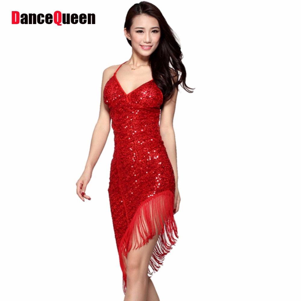 2018 Sexy Robe De Danse Latine Femmes Filles Polyester Salsa Samba Tango Ballroom Concurrence Costume Dame Pratique/de Danse De La Concurrence