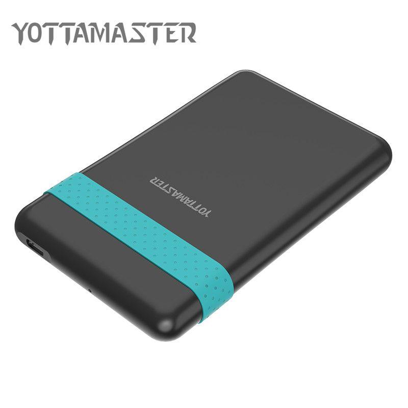 YOTTAMASTER HDD Gehäuse 2,5 zoll 5 Gbps Typ c zu SATA 3,0 Harte Festplatte Fall 2 TB Unterstützung UASP mit Silikon Band USB kabel