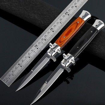 Pliant Lame Couteau Haute Dureté Lame Couteau Haute Camping Couteau En Plein Air En Acier Inoxydable Survie Couteaux Cadeau Noir Rouge