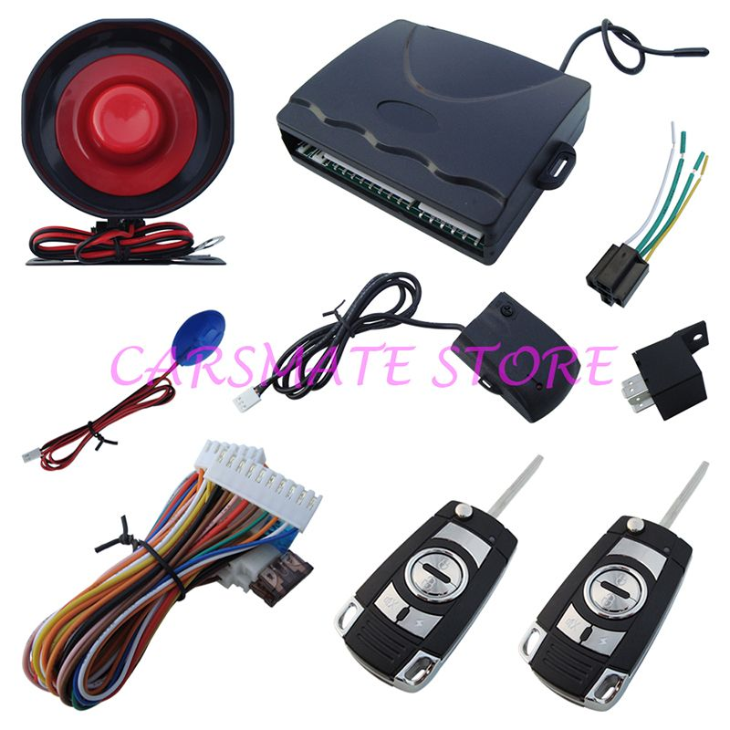 Universal One Way Car Alarm System With Flip Key Remote Central Lock / Trunk Release With LED Status Indicator Carsmate