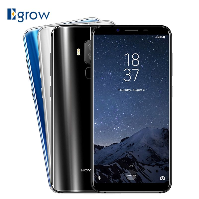 HOMTOM S8 16MP+5MP Dual Back Camera Moblie Phone MTK6750T Octa Core Cell Phones 5.7\ HD+ 18:9 Android 7.0 Smartphone 4GB+ 64GB