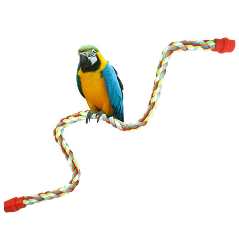 Pet Bird Parrot Rope Cockatiel Parakeet Conure Cage Standing Perch Chew Peck Toy