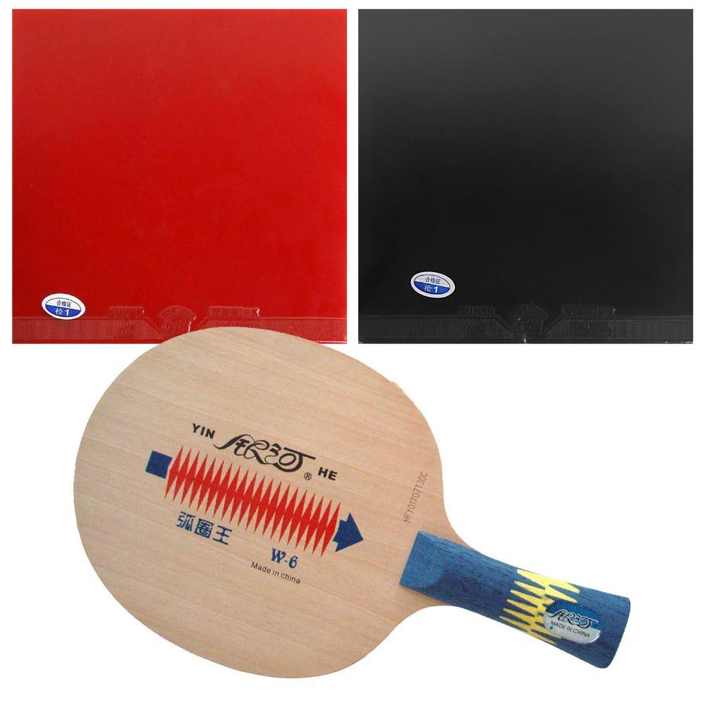 Original Pro Table Tennis PingPong Combo Racket Galaxy Yinhe W-6 Blade with 2x 729 Super FX Rubbers Long Shakehand FL