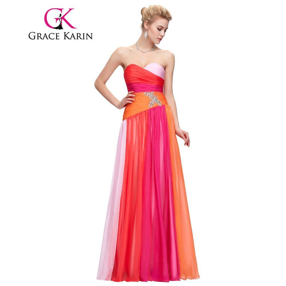Gracia Karin Vestidos de Noche Más El Tamaño 18 W 20 W 22 W 24 W Elegante largos Vestidos de Noche de Gasa Robe De Mariage Azul Rojo Vestidos Formales