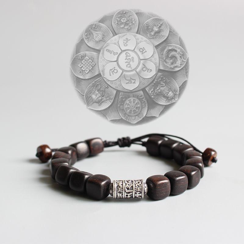 Natural Dark Sander Wood With Tibetan Buddhism Amulet Om Mani Padme Hum Charm Bracelet For Man Women Lucky Bracelet Handmade