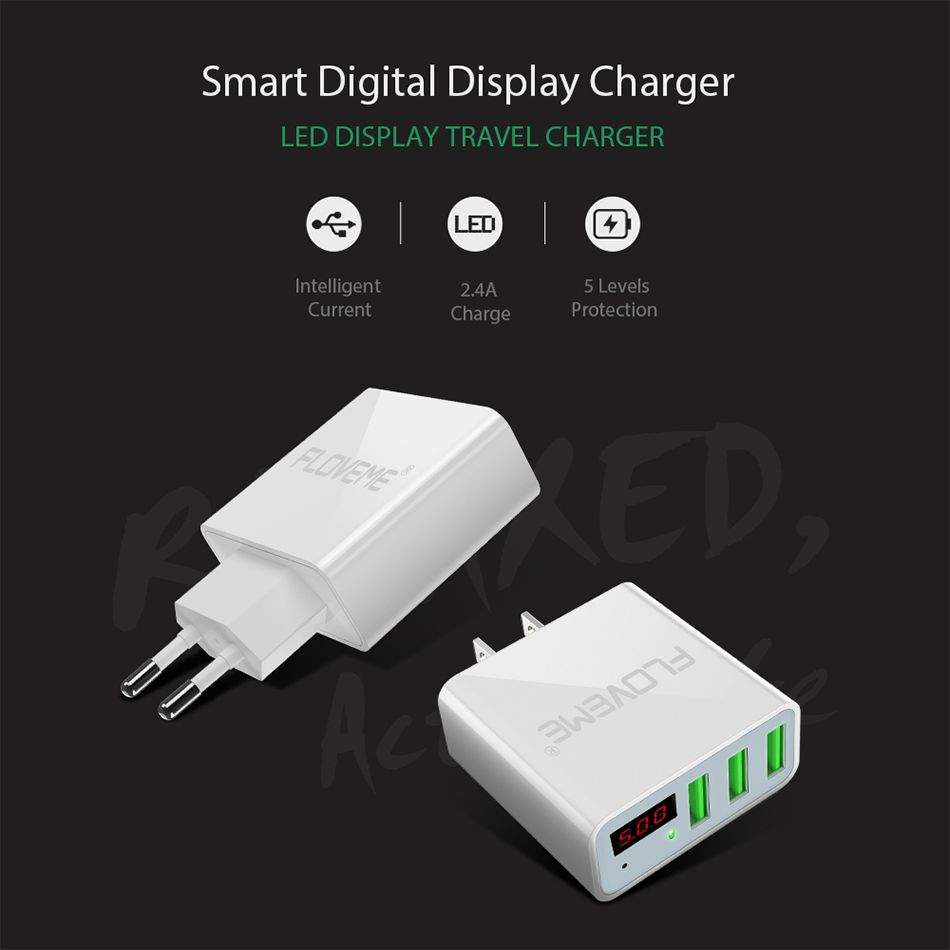 FLOVEME USB Charger Travel Wall Fasting Charging USB Adapter 5V 3A 3 Ports LCD Display For iPhone Samsung Huawei Charger Laptop (1)