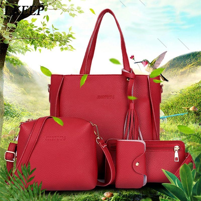 Women Top-Handle Bags Female Composite Bags Women Messenger Bags Handbag Set PU Leather Wallets Key Bag Set