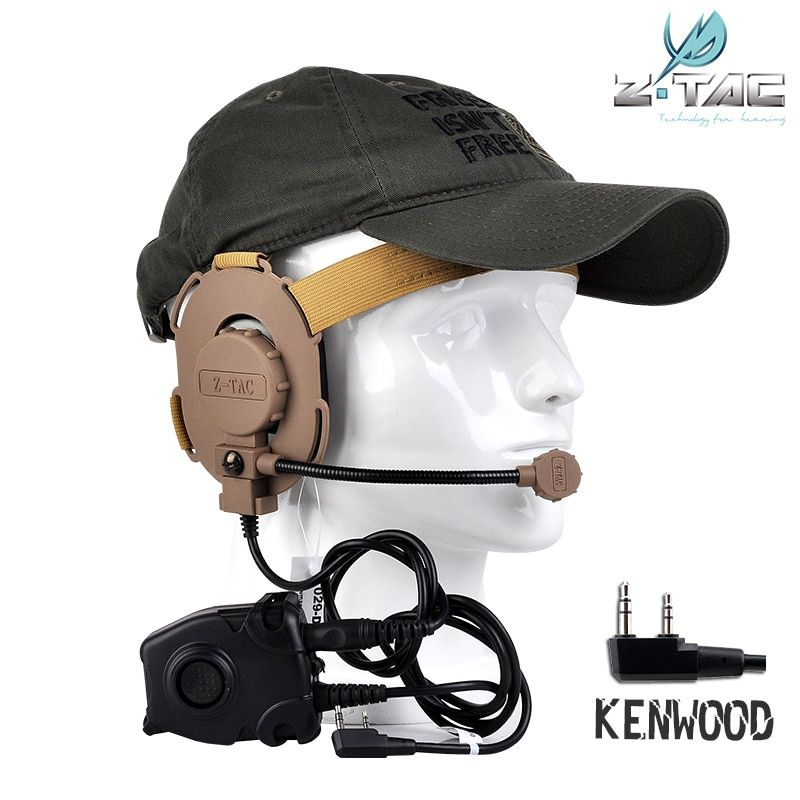 TACTICAL HEADSET AND PTT KENWOOD PLUG SET TO HOT SELL Reasonable price for wargame Z029BK+Z112KEN