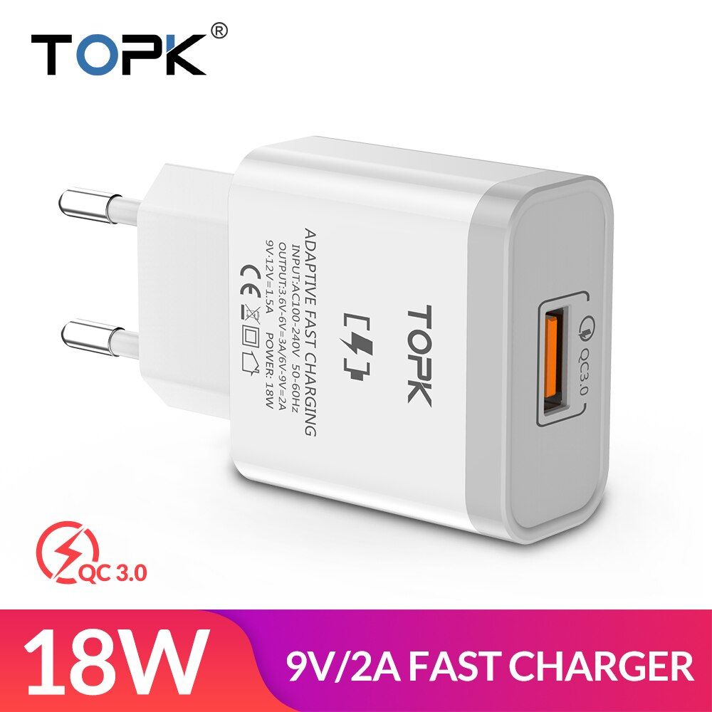TOPK 18W Quick Charge 3.0 Fast Mobile Phone Charger EU Plug Wall USB Charger Adapter for iPhone Samsung Xiaomi Huawei