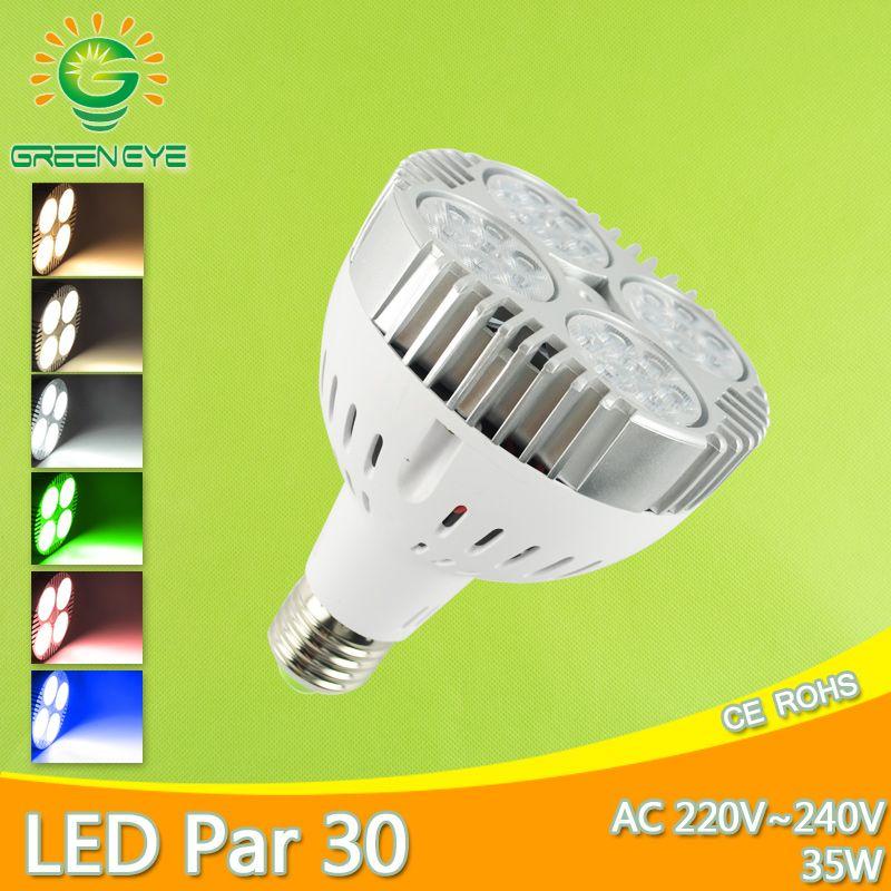 LED E27 par30 35 W lampe à LED LED spot AC 220 V 240 V LED par Lampara pour l'éclairage domestique froid chaud blanc rouge vert bleu Lampara