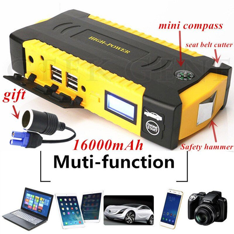 Car Jump Starter Emergency 16000mAh 12V <font><b>Starting</b></font> Device 4USB SOS LED Light Mobile Power Bank Car Charger For Car Battery Booster