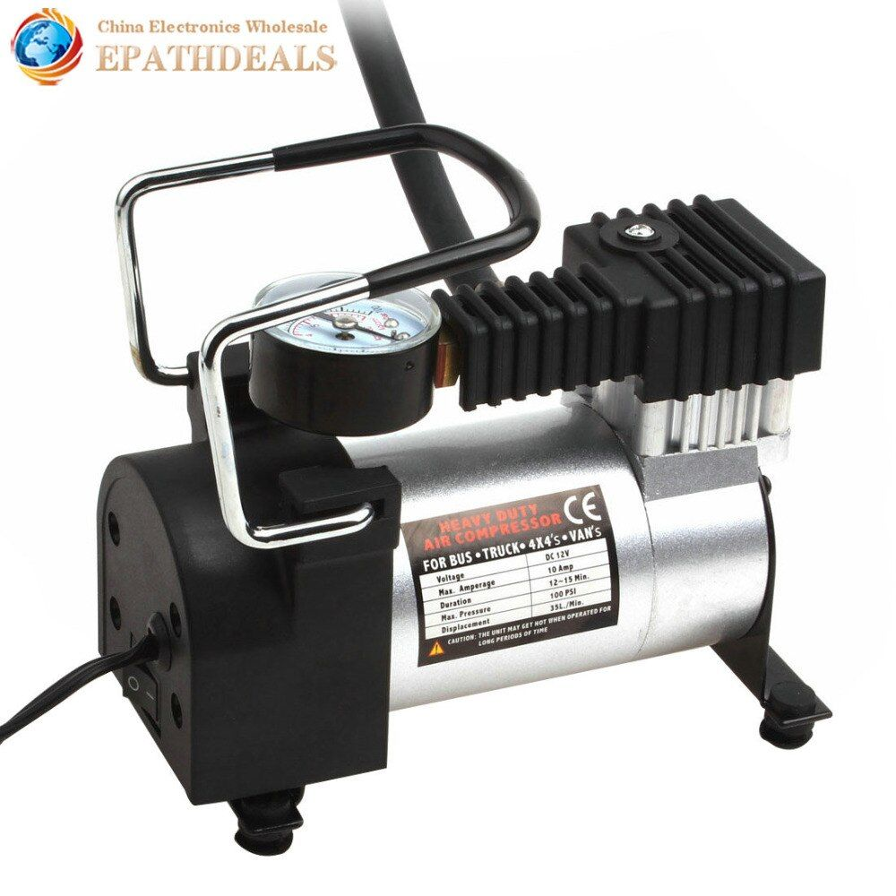 Portable Car Air Compressor Heavy Duty 12V 140PSI 965kPA Electric Tire Tyre Inflator Pump for for Auto Bicycles Motorcycles Ball