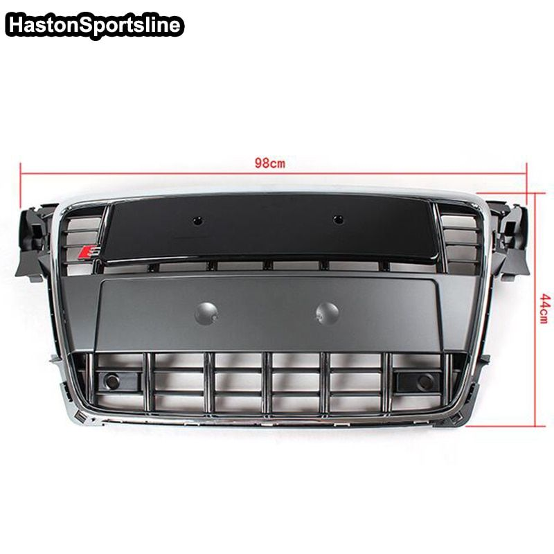 A4 B8 Chrome Frame Grey Front Bumper Middle Grill Grille For Audi A4 S4 RS4 S-Line 2009 2010 2011 2012