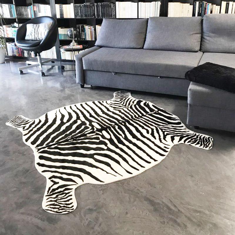 New Arrival Cow Zebra Carpet and Rug 135X145CM PV Velvet Imitation Skins Carpets for Home Animal Print Non Slip Mats