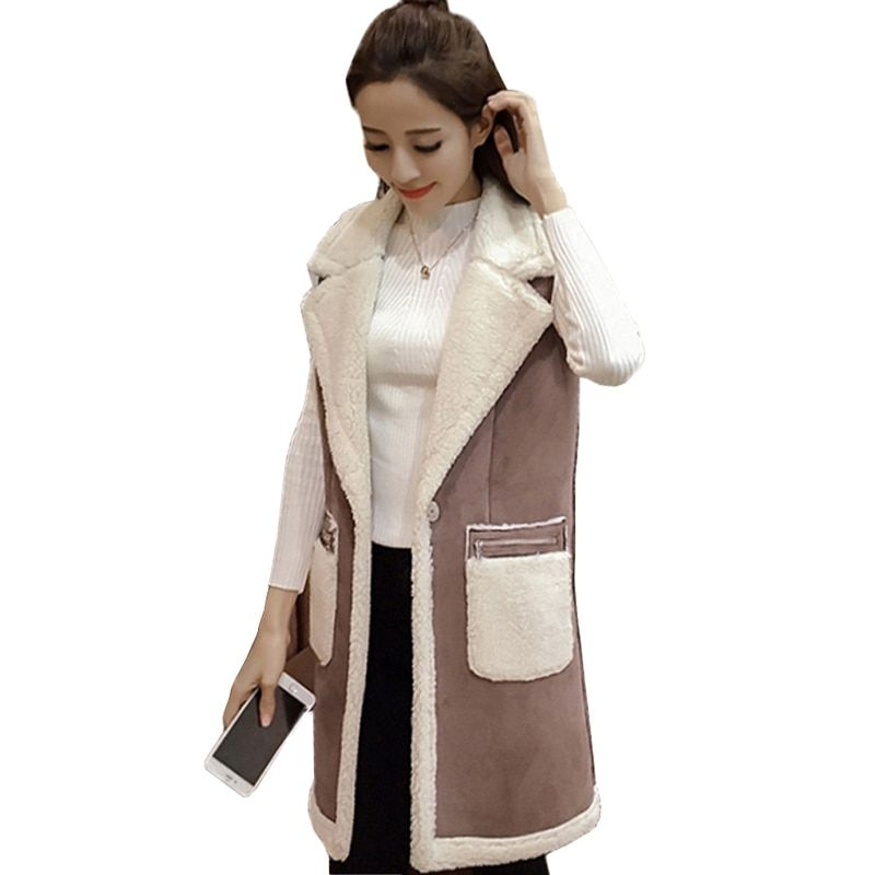 Winter Women Vest Waistcoat 2018 Women's Sleeveless Vest Jacket Long Patchwork Faux Suede Vests Coat Female