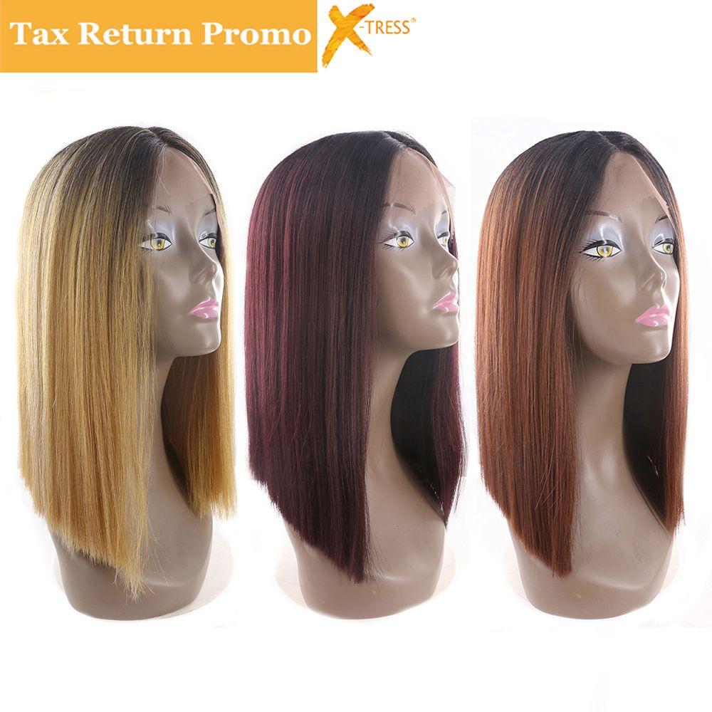 Ombre Noir Blonde Couleur Rouge Courte Bob Avant de Lacet Synthétique perruques de cheveux X-TRESS Yaki Droite Raie Médiane Blunt Perruques Pour Femmes