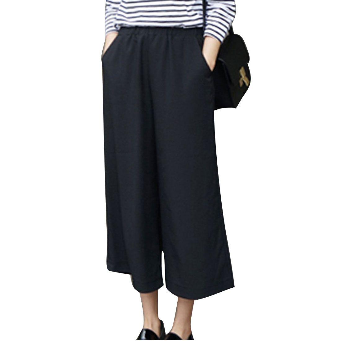 2017 Printemps Été Mode Taille Haute Mousseline de soie Jambe Large Pantalon femelle Plus La Taille Lâche Casual Neuf Mètres Pantalon Pantalon Pour femmes
