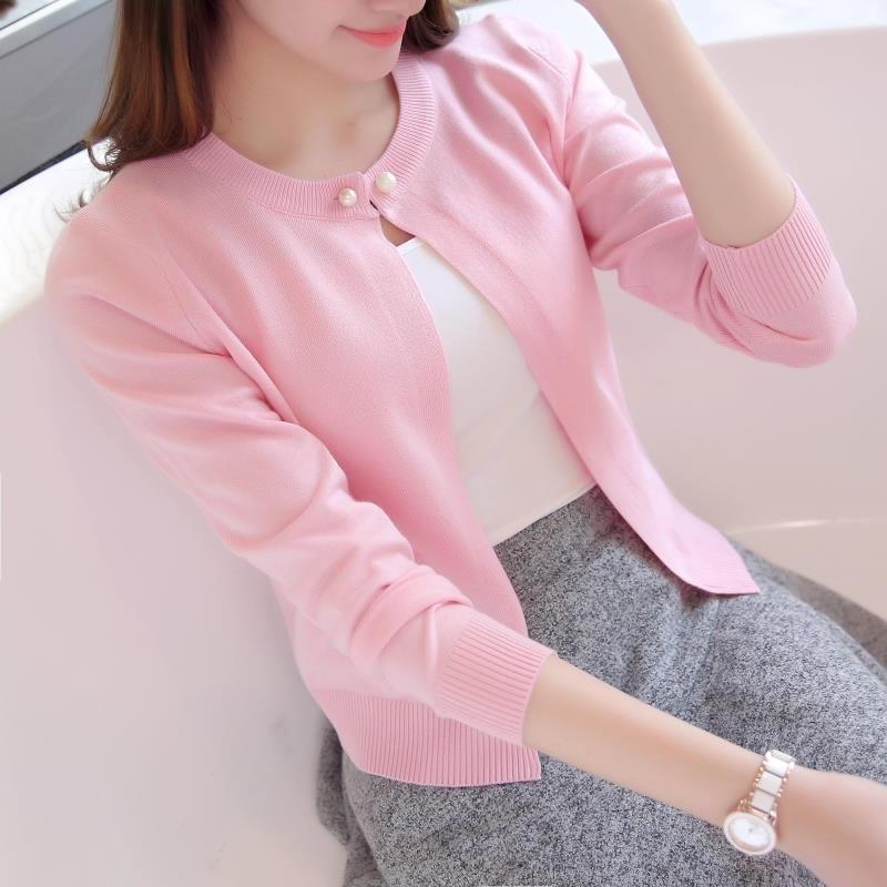 Новые модные женские Кардиганы для женщин тонкая верхняя одежда короткий свитер с длинным рукавом небольшой мыс одноцветное Цвет вязаный с...
