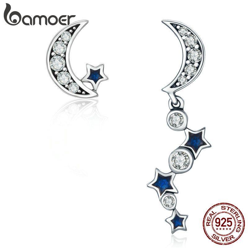 BAMOER Authentische 925 Sterling Silber Crescent Half Moon & Star Dazzling Blau CZ Tropfen Ohrringe für Frauen Schmuck Bijoux SCE127