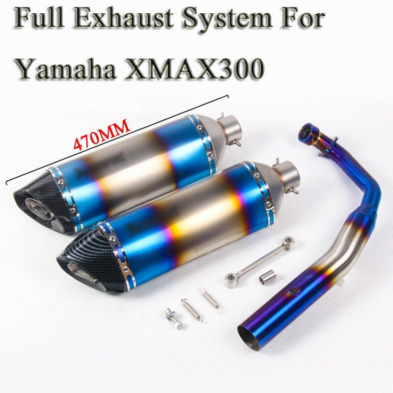 XMAX 300 Motorcycle Full System Exhaust Modified Carbon Laser Muffler DB Killer Front Mid Link Pipe Slip On For YAMAHA XMAX300