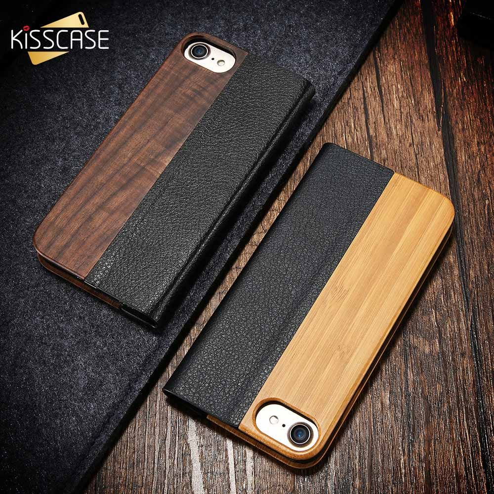 KISSCASE Bamboo Leather Flip Case For iPhone 6 6S 7 8 Plus Natural Wood Protective For Samsung Galaxy S7 S7 Edge Business Shells