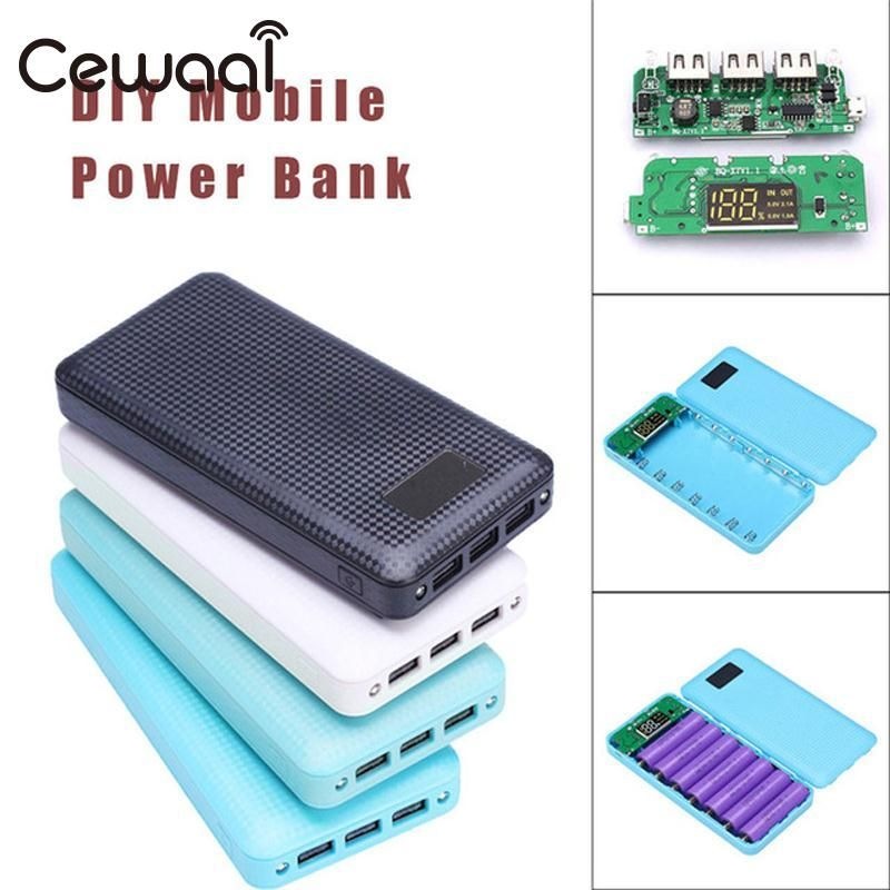 Cewaal 18200mAh DIY Battery Charger Box Power Bank Case 7*18650 LED Diaplay 3 USB Charging Mobile Phone Overshoot Protection