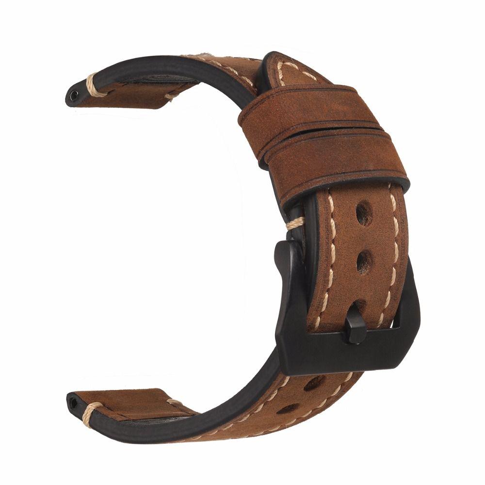 EACHE 20mm 22mm 24mm 26mm Véritable Bande de Montre En Cuir Fou cheval Bracelet En Cuir pour P Montre Main Fait Avec Noir boucles