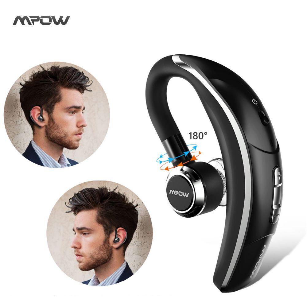 Original Mpow wireless Single Car headphone Portable <font><b>Handsfree</b></font> bluetooth 4.1 180 Rotation Earbuds Earphones with Microphone