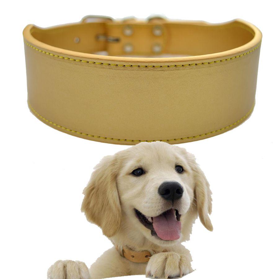 Grand collier pour chien de compagnie 2 pouces de Large collier en cuir synthétique polyuréthane blanc noir rouge rose couleur or taille moyenne produits pour animaux de compagnie réglable XXL
