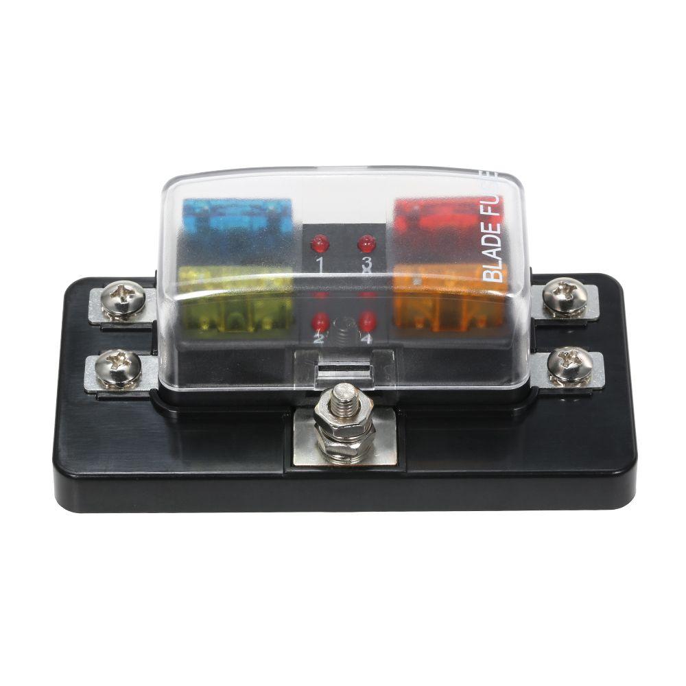 12V 24V 4 Way Blade Fuse Box with LED Indicator Fuse Block for Car Boat Marine Caravan Circuit Standard ATO +4X Fuse