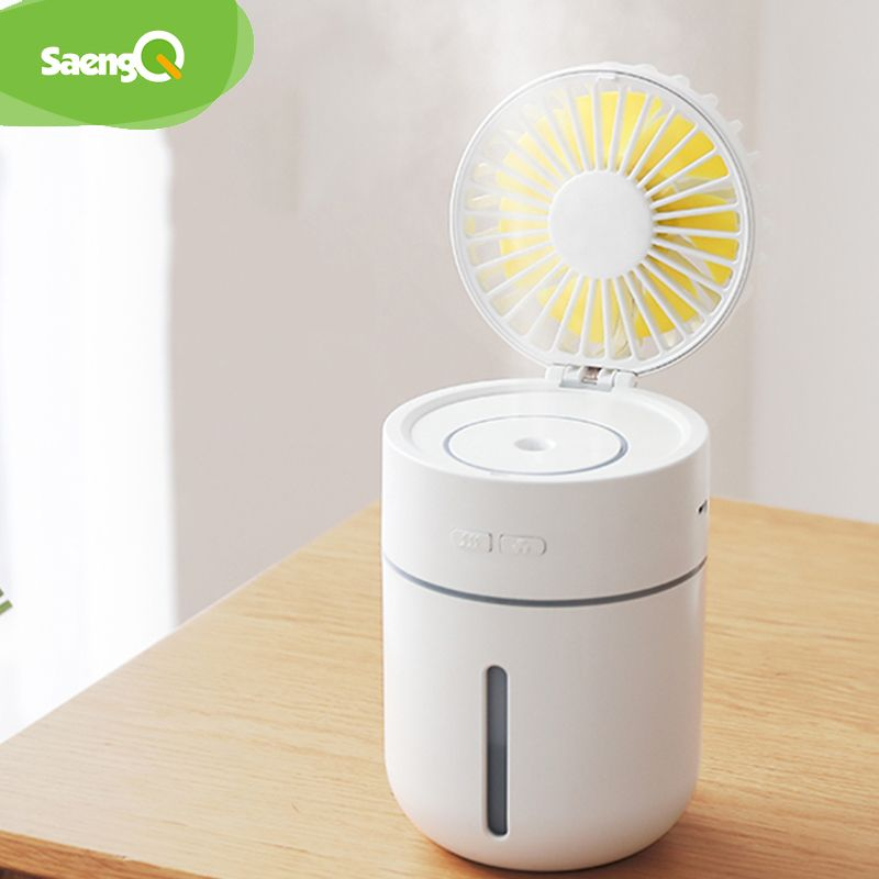 saengQ Battery Fan with Air Humidifier 400ML USB Aroma Essential Oil Diffuser 7Color Night Light ventilador Portable Table Fan