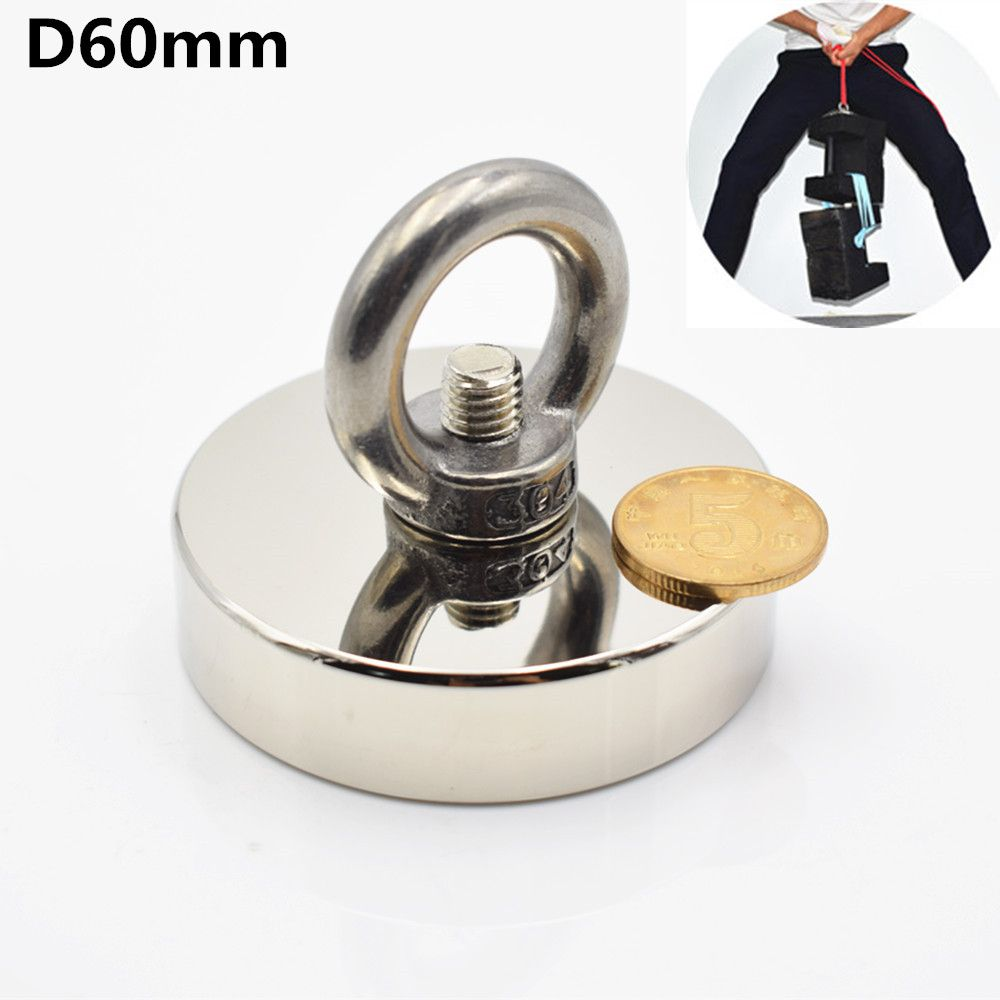 1pcs D60mm fishing salvage neodymium magnet holder super powerful hole Circular ring  hook permanent deep sea  Pulling Mounting