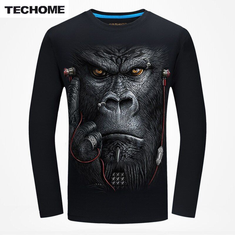Plus Size 6XL 2016 Fashion Men's Long-sleeve O-neck T-shirt Casual Brand 3D Orangutan 3D Animal Tops Dress Cotton Men T Shirt