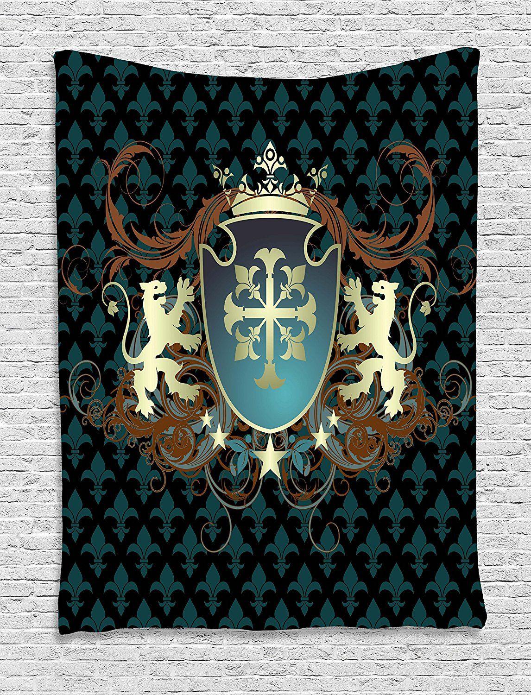 Mittelalterlichen Wandteppich Heraldic Design eines Mittelalter Mantel von arme Kreuz Crown Lions Wirbelt Wandbehang für Wohnzimmer wohnheim