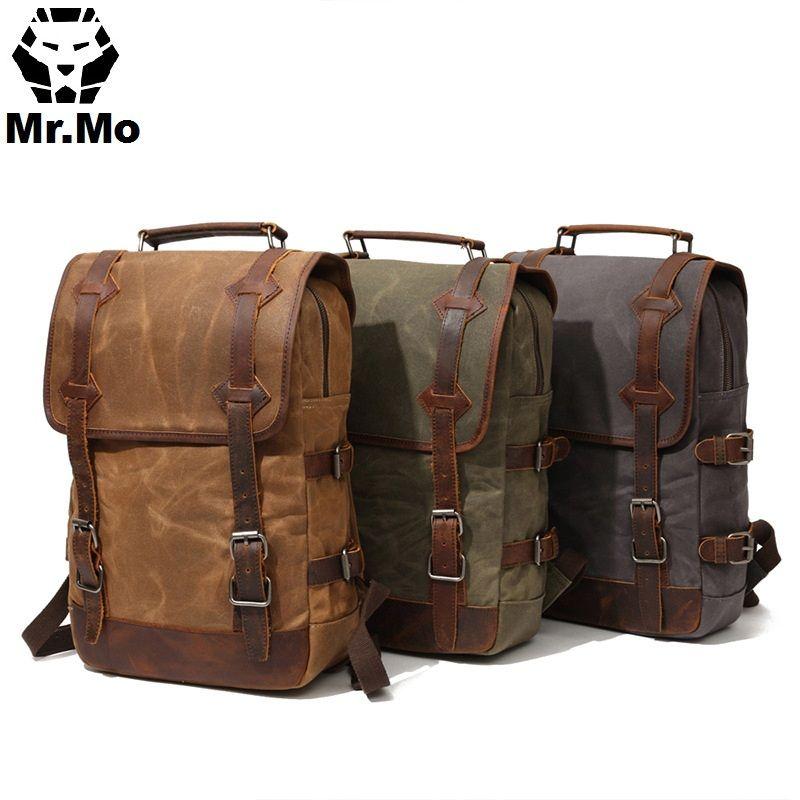 Vintage Big Travel Backpack Bags Mochila Waterproof Waxed Canvas Geniune Leather Bags Men's Backpack Laptop Bagpack Rucksack